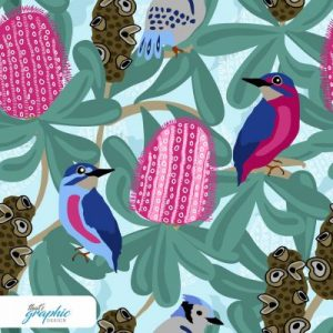 Banksia Flowers and Birds Fabric Print