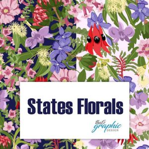Australian States Floral Emblems Fabric Print