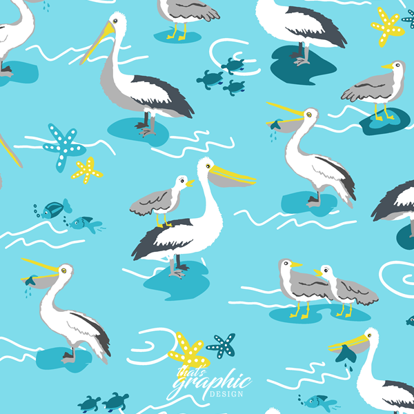 Australian Fabric Designer - Annette Winter - Pelicans and Seagulls