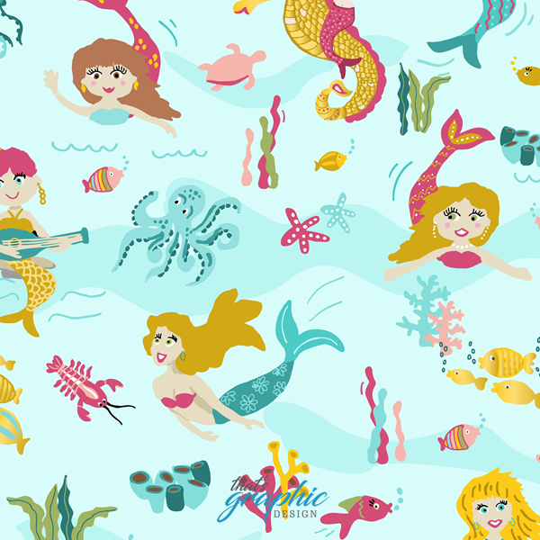 Mermaids and seahors unicorns - Pattern Design