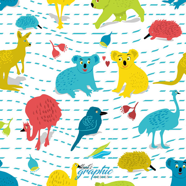 Cute Australian Animals Fabric Print