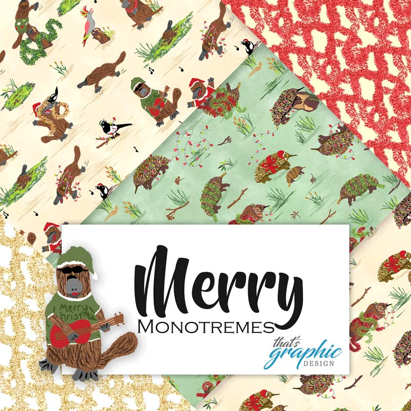 merry monotremes christmas fabric echidnas and platypus