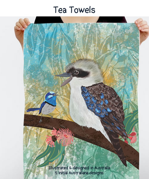 Australiana tea towels - Tea Towels illustrated and designed in Australia by Annette Winter